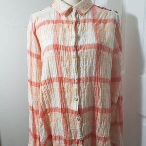 Anthropologie bird tag button up with floral back